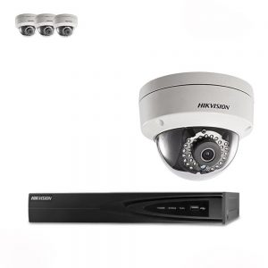 Hikvision 4 x 4 Megapixel IP PoE 4MM Waterproof IP66 Dome Camera & 4 Channel 8MP POE NVR CCTV Kit